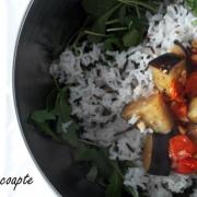 Salată cu vinete și roșii coapte