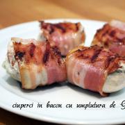 Ciuperci umplute cu Gorgonzola și învelite în bacon