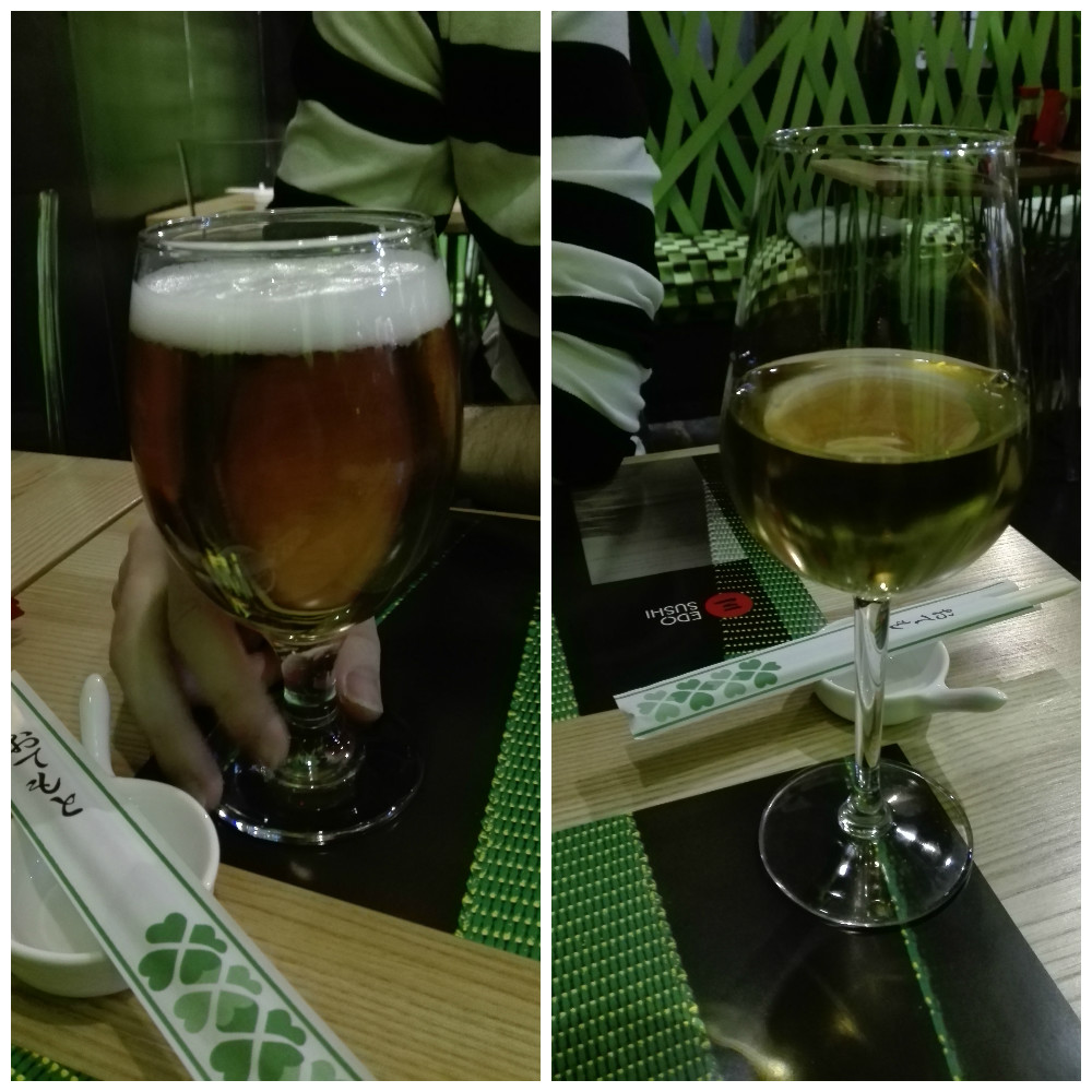Asahi beer and Plum wine